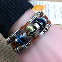 HandMade Skull Charms Buckle Leather Bracelets