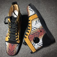 Cl Christian Louboutin Suede Mid Strass Style #2230 Sneakers Fashion Shoes - Best Online Sale