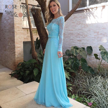Bateau Neck Long Lace Sleeves Blue Floor Length Prom Dress Fully Beaded Formal Party Dress with Illusion Back