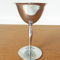 One stainless steel and chrome martini glass, metal cocktail glass