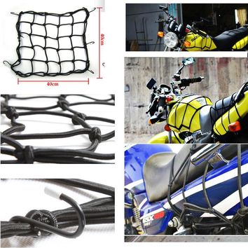 BBQ@FUKA 6 Hook Motorcycle Bicycle Luggage Rack Storage Elastic Net Fixed Helmet Sundries Black