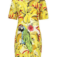 Yellow Mini Dress In Parrot Print