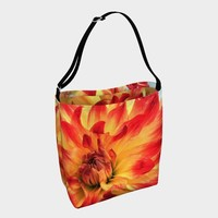 Tropical Flower Tote Bag * Red And Yellow Dahlia Flower Tote Bag * Wedding Tote * Beach Tote * Bridesmaids Tote Bag * Vacation Tote