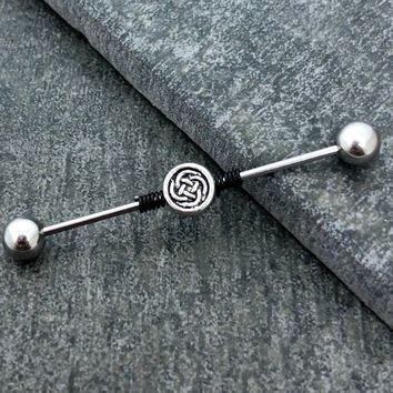 Celtic knot wire wrapped Industrial/Scaffold barbell 16 gauge stainless steel body jewelry