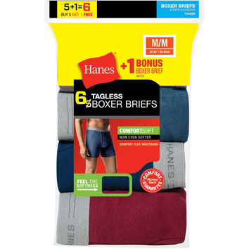 Hanes Mens TAGLESS Boxer Brief with Comfort Flex Waistband 6-Pack (Includes 1 Free Bonus Boxer Brief)