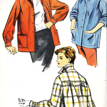 1950s Casual Boxy Jacket Misses Vintage Sewing Pattern Simplicity 4945 bust 34""
