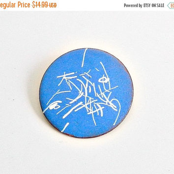 SALE Vintage Blue & White Enameled Copper Brooch, Mid Century Abstract Brooch, Sky Blue Enamel Pin.