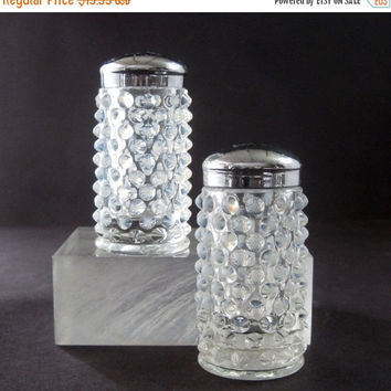CYBER SALE Fenton Hobnail French Opalescent salt and pepper shakers