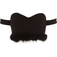 Black fluffy hem bardot crop top