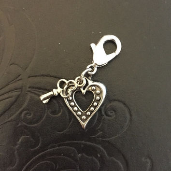The Key to My Heart, Bridle - Saddle - Breech Charm (Antique Silver, Single heart)