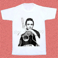 Johnny Cash TShirt Country Rock And Roll TShirt Rock TShirt Short Sleeves Tee Shirt White TShirt Women TShirt Unisex TShirt Size S,M,L,XL