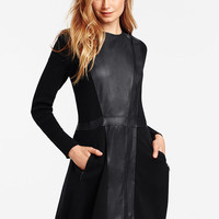 Faux-leather Zip-front Sweaterdress