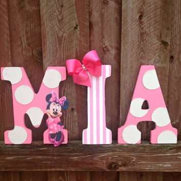 "9"" Pink and white, Minnie Mouse, Character Letter Wall Hangings, Name Room Decoration, Girl's Room Decor, Glitter Polka Dots"