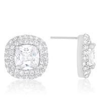 8mm Cushion Pave Double Halo Earrings