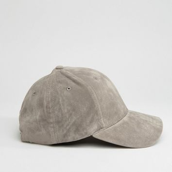 New Look Faux Suede Cap In Gray at asos.com