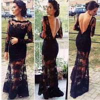 Vestidos de formatura 2017 new lace long-sleeved beaded halter to see sexy black mermaid prom dress African dress for graduation