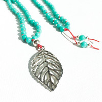 Turquoise Mala Beads Long Beaded Necklace Boho Jewelry Leaf Pendant Necklace Turquoise Necklace Handknotted Mala Necklace
