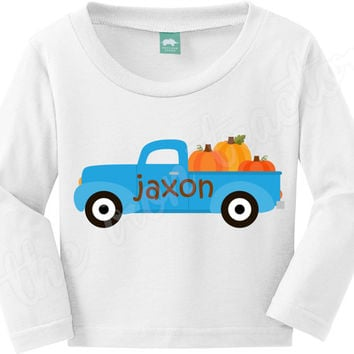 Personalized Blue Truck with Pumpkins Shirt / Onesuit / Bib ~ Thanksgiving Digital Iron On ~ Pumpkins ~ Fall