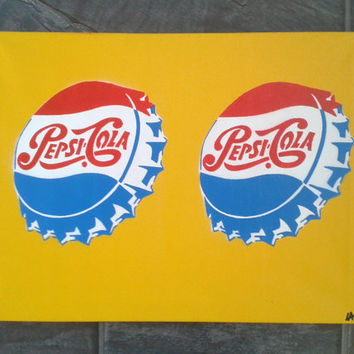 Pepsi Cola painting,retro,pop art, advertising,Americana,pepsi bottles,artwork,60s,red,white,yellow,home,living,stencil art,spray paints