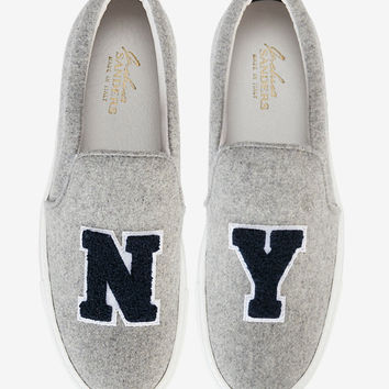 Joshua Sanders NY Slip On Felt Sneakers: Grey at INTERMIX | Shop Now | Shop IntermixOnline.com