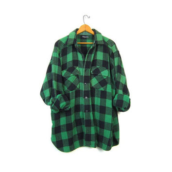 Buffalo Plaid Shirt 80s WOOL Flannel Green Black Lumberjack Jacket Button Up Long Sleeve 1980s Oversized Grunge Vintage Mens XL Large