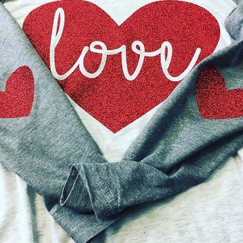 Valentines Day, Heart Elbow Patch, Women's Long Sleeve T-Shirt