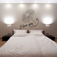 Vinyl Wall Decal Sticker I Love You Daisy #1051