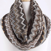 Multi Colored Chevron Infinity Scarf - Olive
