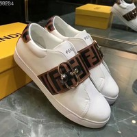 FENDI FF leather sneakers