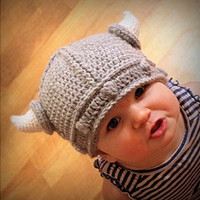 Baby Infant Boy Girl Hat Toddler Knit Viking Beanie Crochet Handmade Cap
