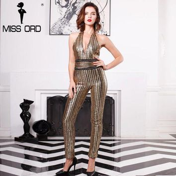 Missord 2017 Sexy Deep V Sleeveless Strapless Halter Backless Sequin Jumpsuit Ft4998