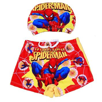 Kid Spiderman swimwear Cartoon Swimming Cap , boys Swimming trunks , Kids Swimming Cap Trunks Suit spiderman swimsuit Red Shorts