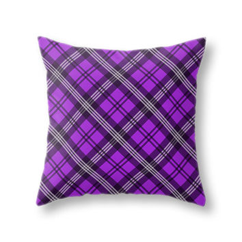 Purple Scottish Plaid Pillow Cover, Tartan Throw Pillow Case for Living Room and Home Decor