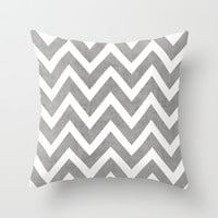 gray chevron Throw Pillow by Her Art