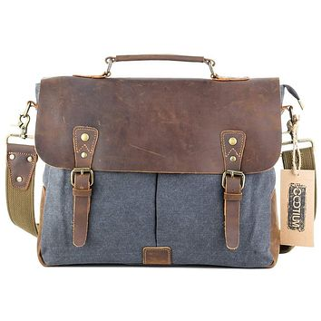 Canvas Leather Messenger Laptop Bag #21108