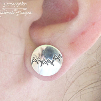 Mountain Stud Earrings, Mountain Earrings, Sterling Silver, Silver Stud Earrings, Mountain, Mountain Jewelry, Nature Jewelry, Mountain Range