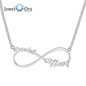DCCKU62 Personalized Name Necklace Customize Letter Infinity Endless Love 925 Sterling Silver Necklaces & Pendants (JewelOra NE101367)