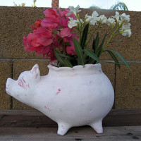 Mexican Terracotta Pottery Pig Rustic Primitive Planter Pot Farmhouse Country Home Decor White Chalk Painted Distressed No. 1