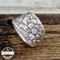 Narcissus Daffodil Silverplate Spoon Ring