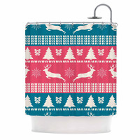 "Famenxt ""Christmas Blue Red"" Blue Red Illustration Shower Curtain"