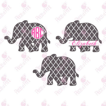 Quatrefoil Elephant SVG Cut Files, Elephant SVG, cut files for Silhouette, cut files for Cricut, svg files, Monogram frames svg, svg files
