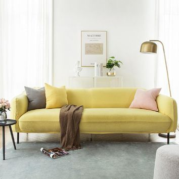 Sofa Covers Jacquard Spandex Fabric Stretch Slipcover in Yellow