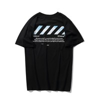 Off White New fashion letter print couple top t-shirt Black