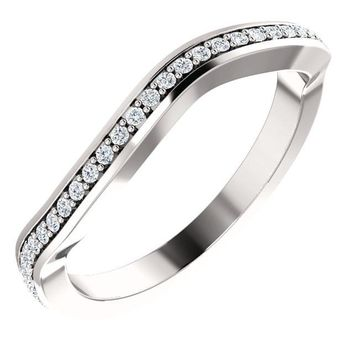 14k White Gold Band For 9x4.5mm Marquise Ring