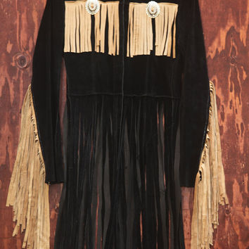 Vintage Leather Fringe Customized concho Western Jacket size S