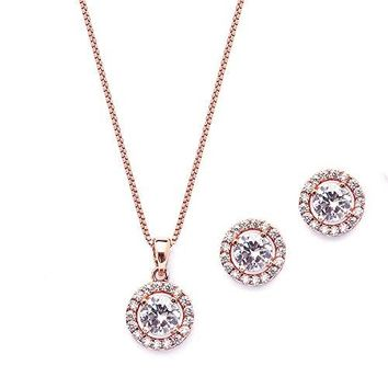 Mariell Ultra Dainty 10.5mm Cubic Zirconia Round Halo Necklace & Stud Earrings Set -14K Rose Gold Plated