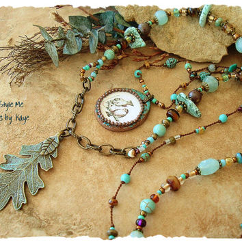 Bohemian Jewelry, Rustic Turquoise and Brown Layered Necklace, Birds and Autumn, Hand Knotted, Patina Oak Leaf, Boho Style Me, Kaye Kraus