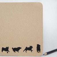 Pug Silhouette Notebook - Custom notebook, Pug gift, Eco friendly, Recycled paper, Journal, Notepad, Notebook journal, Animal lover gift