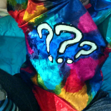 Hand Painted Glowing Question Marks Silky Rainbow Blouse Funky Fashion (80s Vintage - Repurposed)