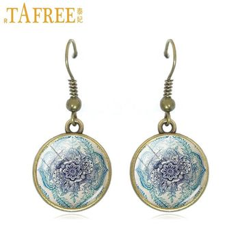 TAFREE Retro Mandala drop earrings geometry amulet Religious dangle earrings vintage for women copper Supernatural jewelry A373